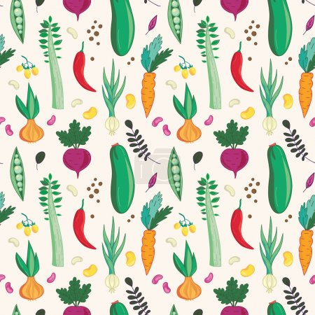 Assorted vegetables seamless pattern.