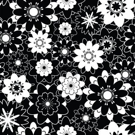 Photo pour Vecteur décoratif sans couture motif noir et blanc avec des fleurs - image libre de droit