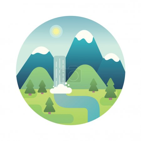 Landscape illustration. Flat design icon.