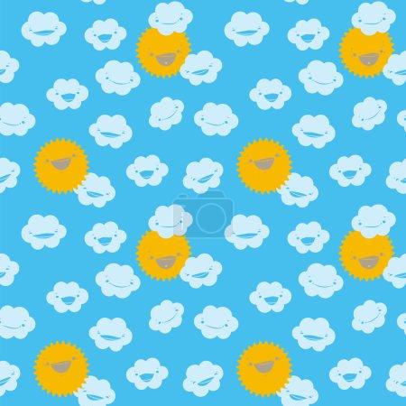 Photo pour Drôle de motif sans couture avec des nuages et le soleil souriant sur les nuages bleus. Conception pour les enfants . - image libre de droit