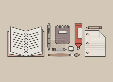 Photo pour Set d'icônes design plat, illustration vectorielle de style moderne de fournitures de bureau et d'articles d'affaires pour une utilisation quotidienne sur fond beige . - image libre de droit