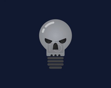 Abstract vector illustration of light bulb with the face of a skull