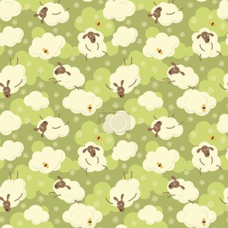 Photo pour Moutons, nuages, fleurs et papillons sur fond vert motif sans couture dessin animé mignon . - image libre de droit