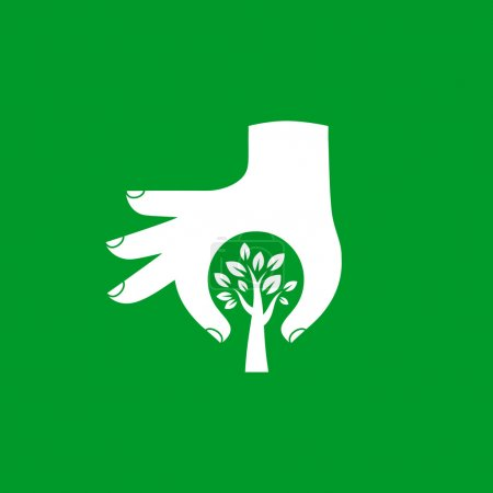 Illustration for Hand protecting plant - nature conservation graphic. This illustration represents human concern for deforestation, ecological protection, protecting plants and trees. - Royalty Free Image