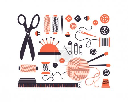 Vector sewing equipment and needlework icons set.