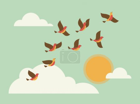 Photo pour Des oiseaux volants dans le ciel avec des nuages et du soleil. Illustration vectorielle . - image libre de droit