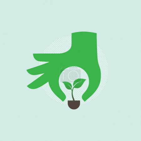 Hand with green ecology bulb.