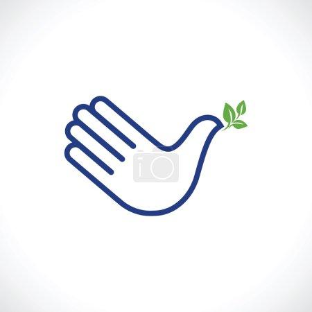 Photo pour Main comme colombe de paix. Icône créative . - image libre de droit