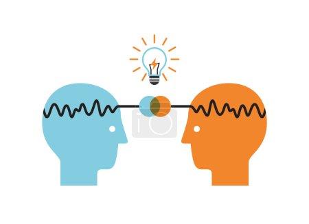Photo pour Deux faces profilées avec ampoule. Concept d'idée d'entreprise et infographie de remue-méninges . - image libre de droit