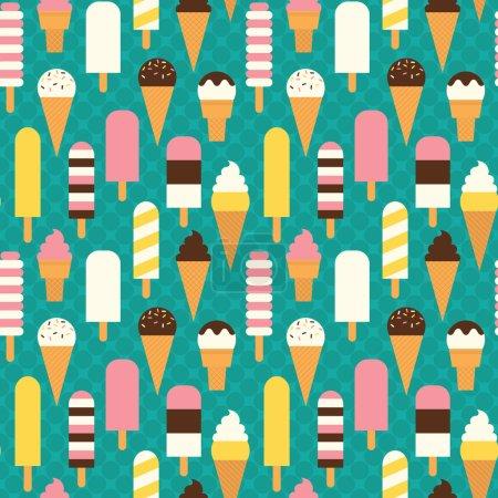 Illustration pour Modèle de crème glacée sans couture coloré sur fond sombre . - image libre de droit