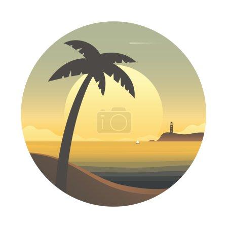 Photo pour Coucher de soleil avec palmier et phare à l'horizon. Illustration vectorielle colorée . - image libre de droit