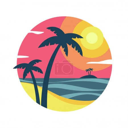 Illustration for Sunrise with palm trees on the tropical island. Colorful vector illustration. - Royalty Free Image