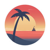 Ocean sunset with palm tree and ship