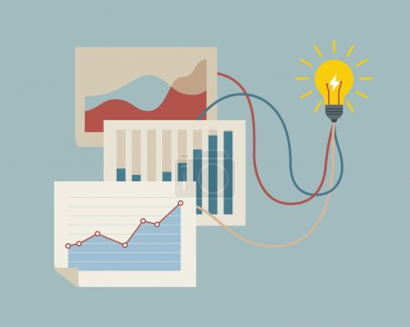 Illustration for Conceptual illustration on creating new idea with graphs and idea bulb. - Royalty Free Image