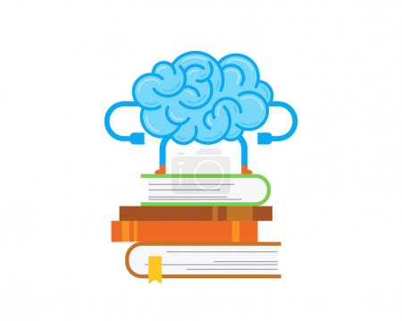 Photo pour Le cerveau reste sur la pile de livres. Illustration conceptuelle de l'entraînement de votre cerveau isolé sur fond blanc . - image libre de droit