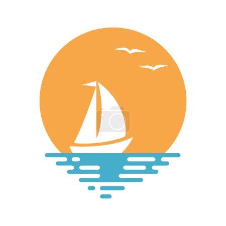 Boat and sun. Vector illustration.