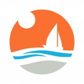 Sailing boat sun and waves Vector icon
