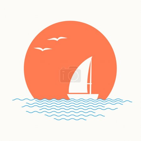 Sailing boat. Vector illustration.