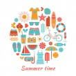 Stylized colorful vector background with summer ic...
