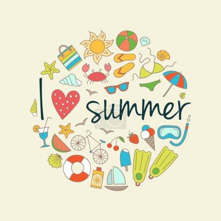 Photo pour Fond d'été coloré avec des icônes d'été . - image libre de droit