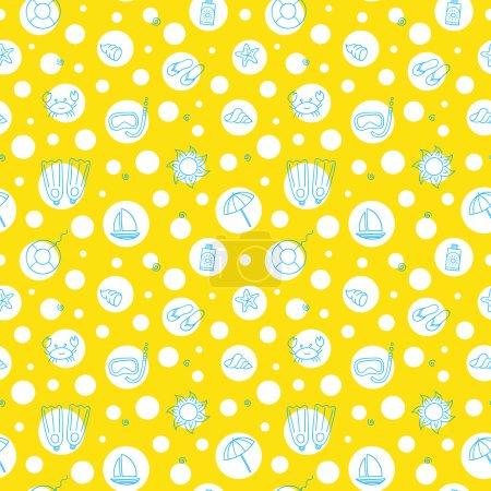 Photo pour Modèle d'été sans couture sur fond jaune . - image libre de droit