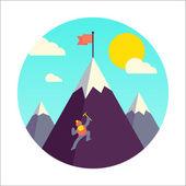 Mountaineer climb a snow mountain