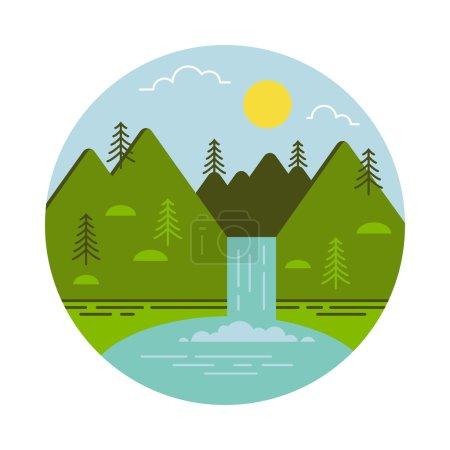 Mountain waterfall and lake. Vector illustration.