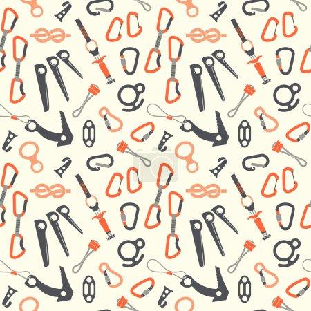 Photo pour Équipement d'escalade vectoriel motif sans couture sur fond blanc . - image libre de droit