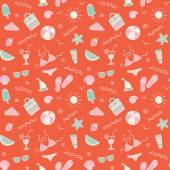 Seamless pattern with summer symbols on red background