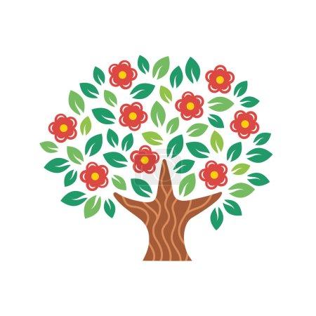 Illustration pour Arbre à fleurs stylisé. Illustration vectorielle isolée sur fond blanc . - image libre de droit