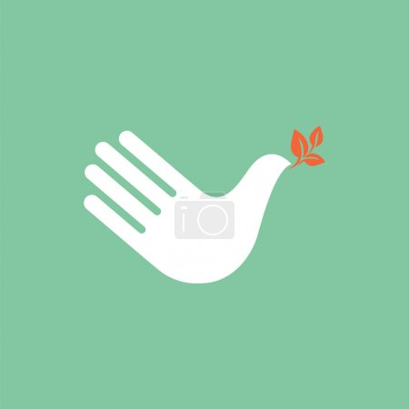 Hand as dove of peace.