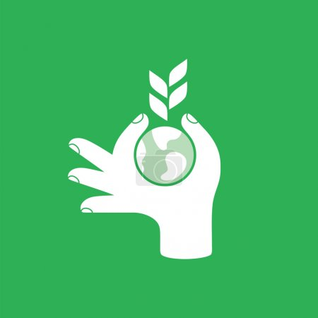 Illustration for Hand with globe and plant. Save the earth concept design, vector illustration. - Royalty Free Image