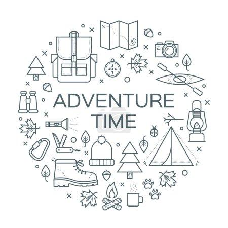 Photo pour Temps d'aventure. Ensemble de symboles et d'icônes d'équipement de camping. Illustration vectorielle sur fond blanc . - image libre de droit
