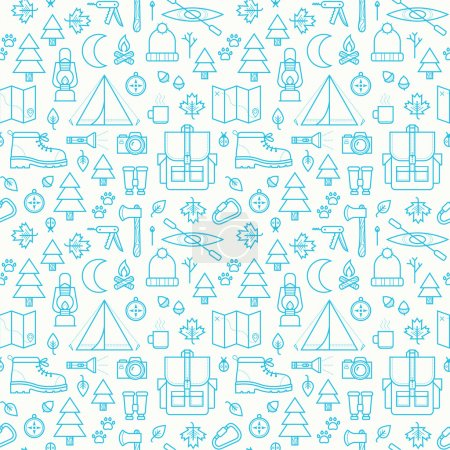 Illustration for Seamless pattern with adventure travel icons isolated  on white background. - Royalty Free Image