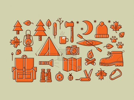 Set of camping equipment symbols and icons.
