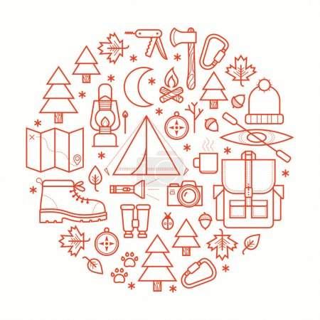 Illustration for Collection camping equipment symbols and icons. Vector illustration. - Royalty Free Image
