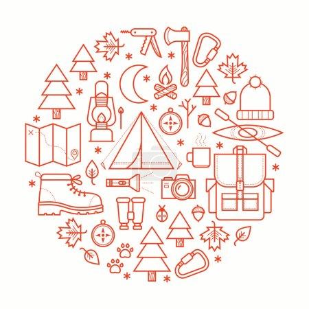 Photo pour Collection matériel de camping symboles et icônes. Illustration vectorielle . - image libre de droit