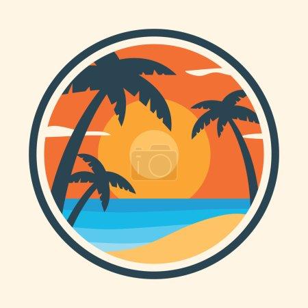 Photo pour Lever de soleil avec des palmiers sur l'île tropicale. Illustration vectorielle colorée - image libre de droit