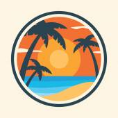 Sunrise with palm trees on the tropical island Colorful vector illustration