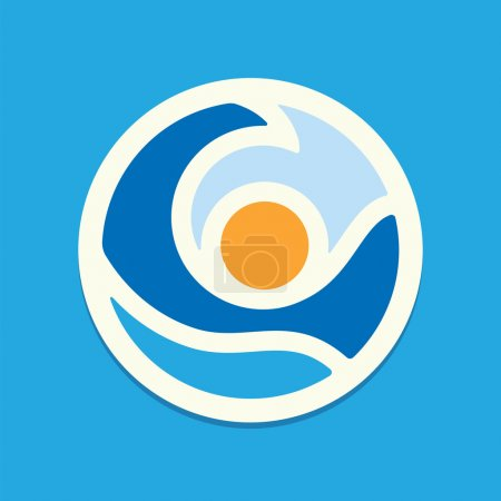 Illustration for Sun and sea wave. Colorful ector icon. - Royalty Free Image