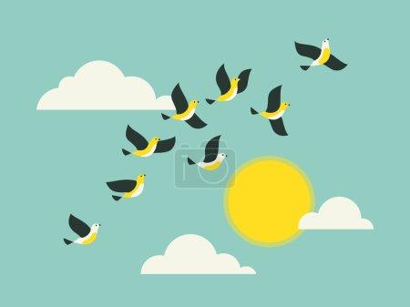 Photo pour Oiseaux volant dans le ciel bleu avec des nuages et du soleil. Illustration vectorielle colorée . - image libre de droit
