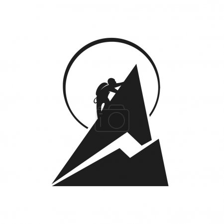 Climber in the mountains. Vector illustration.
