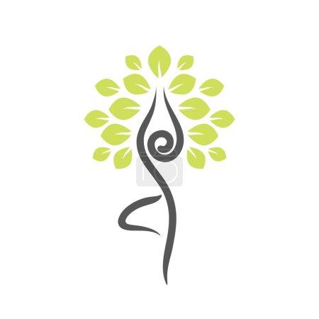 Photo pour Emblème de yoga avec pose d'arbre abstrait isolé sur fond blanc . - image libre de droit