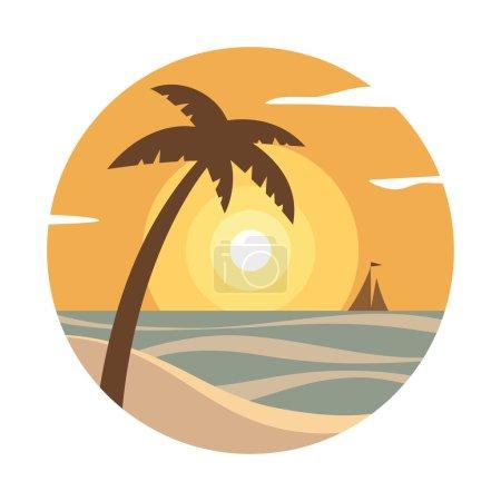 Photo pour Coucher de soleil avec palmier et bateau à l'horizon. Illustration vectorielle colorée . - image libre de droit