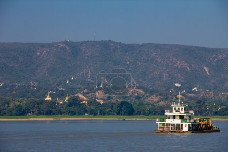 Boat  in River Irrawaddy at Mingun ,in Myanmar (Burmar