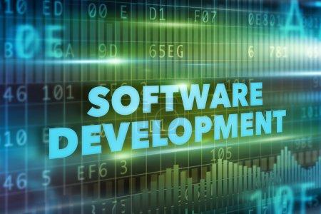 Photo pour Concept de développement logiciel texte bleu fond vert - image libre de droit