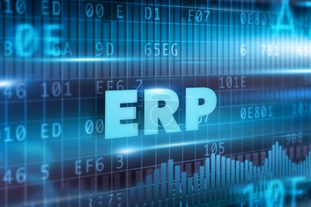 Photo for ERP concept blue background and blue text - Royalty Free Image
