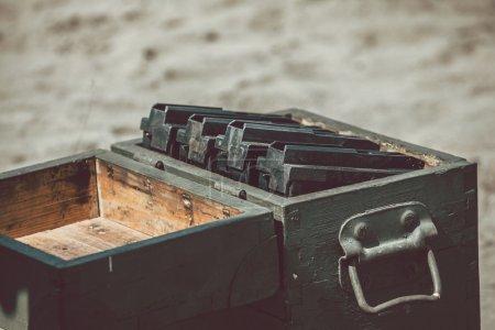 Opened ammunition box