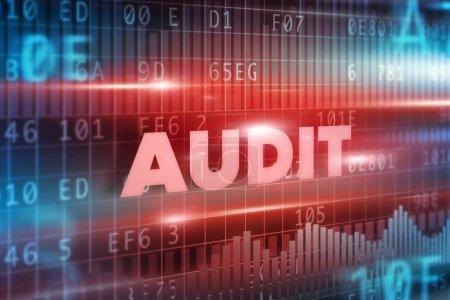 Photo pour Texte rouge d'audit avec le fond rouge - image libre de droit