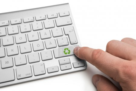 Recycling icon on keyboard